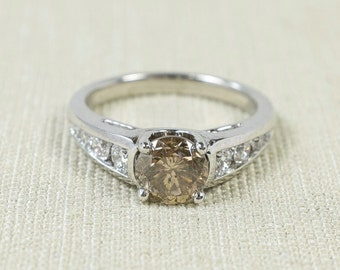 Eye-Catching Unique Platinum 1.75ct Round Light Brown Chocolate Natural Diamond Solitaire Channel Set Accent Engagement Ring FREE SHIPPING!