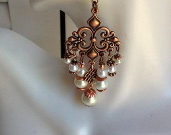 EARRINGS ~ Chandelier, Boho, Victorian, Vintage Copper and White Pearl Earrings