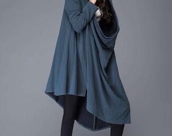 Blue linen jacket/ loose irregular jacket/ Asymmetric jacket/ hood jacket  (C986)