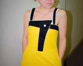1980s '80s New Wave Cotton Dress. Yellow and Black Geometric Daydress. S Small. Pocket Casual Dress.
