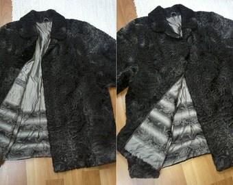 Womens vintage charcoal grey karakul lamb fur swakara russian style winter coat jacket XL luxury persian warm trachten hunting black folk