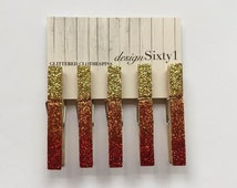 Glittered Ombre Clothespins - Gold