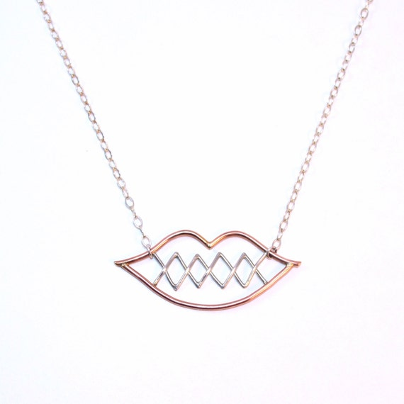 Tell No Secrets Necklace. Snitches get Stitches. My Lips are Sealed. Stitched Lips. Tell No Tales. Silver and Rose Gold