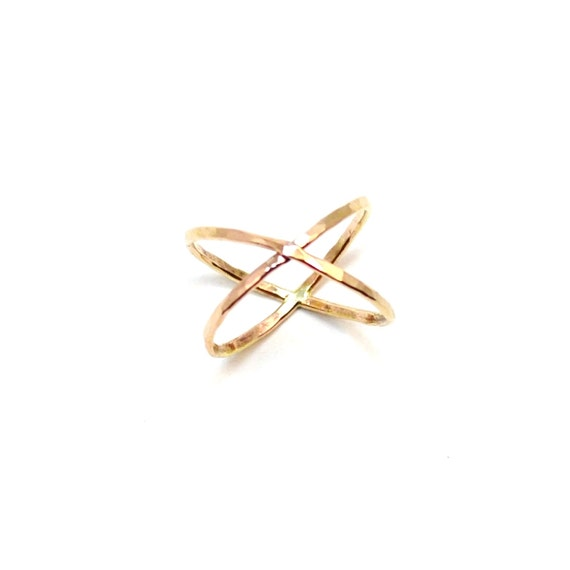 Gold X Ring. Hammered Criss Cross Ring. Crossover Statement Ring. Rose Gold, Silver, Yellow Gold.