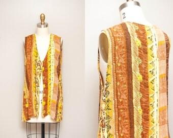 Vintage 90s Rayon Safari Print Vest / Lighweight Boho Style Fashion Vest / One Size Fits Most