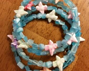 Songbird Bracelet - Memory Wire Bracelet in Blue with Bird Accent Beads