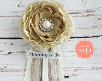Vintage Burlap Baby Shower Corsage with Mommy to Be Grandma to Be and Custom Pins Badge