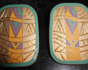 Vintage Laurel Burch Senegal Clip On Earrings Tribal Large