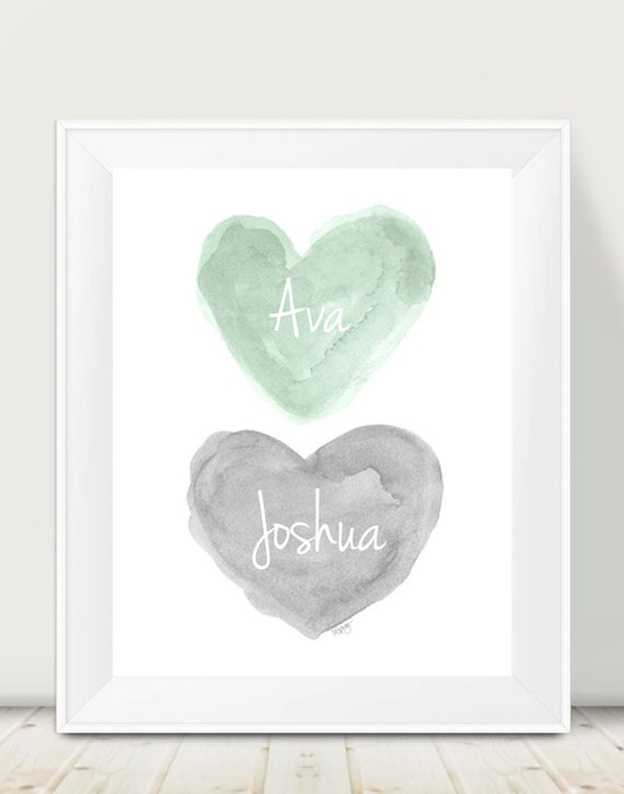 Mint and Gray Personalized Nursery Print, 11x14