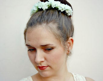 Cloud 9 - light and fluffy floral Bun Belt, white and lavender flower blossoms - floral hair accessory, floral wreath, crown, romantic hair