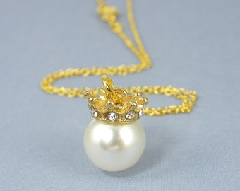 Gold Crown Necklace, Large White Pearl Pendant Necklace, Gold Crown with White Pearl Pendant  |NB2-10
