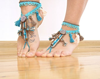 Tribal tassel beaded BAREFOOT sandles, barefoot sandal, belly dancing footwear, beach BOHO party foot jewelry, foot thongs, bottomless shoes