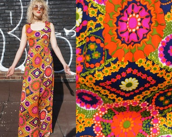 SWINGING MEDALLIONS 1960's Psychedelic Maxi Dress with Electric Floral Mandala Print