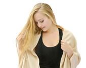 Beige Baby Alpaca Shawl, Large Tan Wool Scarf, Warm Winter Wrap, Soft Cozy Cream Shawl, Women's Woven Woolen Scarf