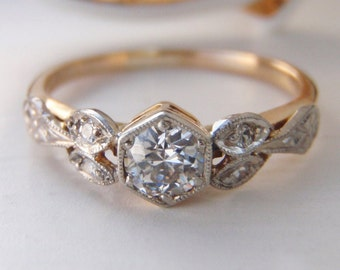 SOLD to Krista. Payment 3 of 4. Exquisite Antique Diamond, 18K Yellow Gold & Platinum Engagement Ring. Beautiful floral engraved shoulders.
