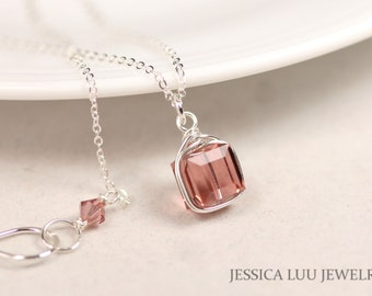 Pink Swarovski Crystal Necklace Wire Wrapped Jewelry Sterling Silver Necklace and Earrings Set Swarovski Crystal Jewelry Dusty Rose Necklace