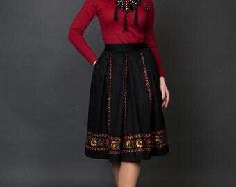 Woman's black pleated skirt ukrainian style