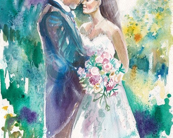 Wedding, Anniversary Watercolor Painting Gifts: 35% Deposit for Custom Wedding Painting Reserved for Shannon by Kristin van Lieshout