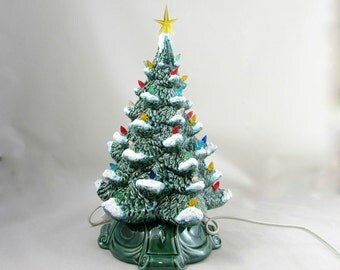 Medium Vintage Style Glazed Ceramic Christmas Tree with kiln fired snow-13 inches with base, hand made, painted, pine tree