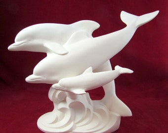 Ceramic Ready to Paint Large Dolphin Family - Bisque, 11 inches