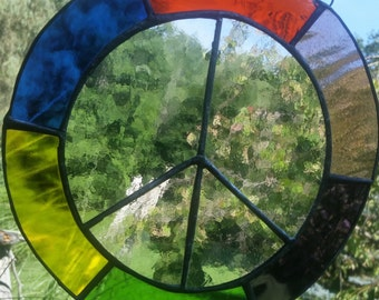 Stained Glass Peace Sign E100
