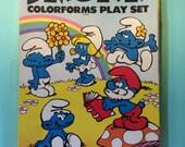 Smurf Colorforms 80s toys games Smurfette Papa Smurf mushroom houses