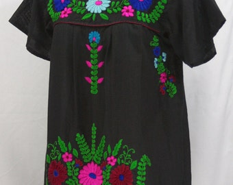 "Mexican Peasant Blouse Top Hand Embroidered: ""La Poblana"" Black + Colorful Embroidery"