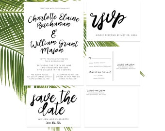 Black and White Calligraphy Wedding Invitation