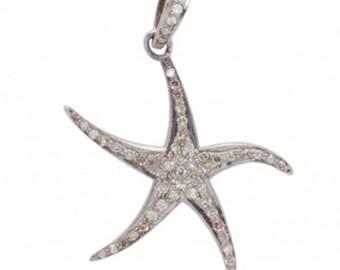 Large Diamond Starfish Pendant, Pave Diamond Pendant, Beachy Pendant, Boho Festival Jewelry
