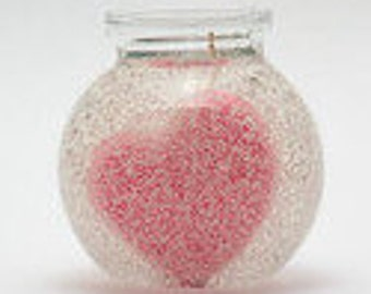 Pink Heart Gel Wax Candle Bowl