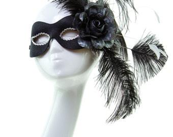 FASCINATION - Black Ladies Feather Masquerade Mask