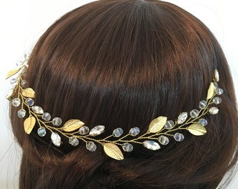 Gold wedding crown, wedding headpiece gold, bridal headpiece, bridal crown, wedding headpiece, floral bridal headpiece, bridal tiara crown