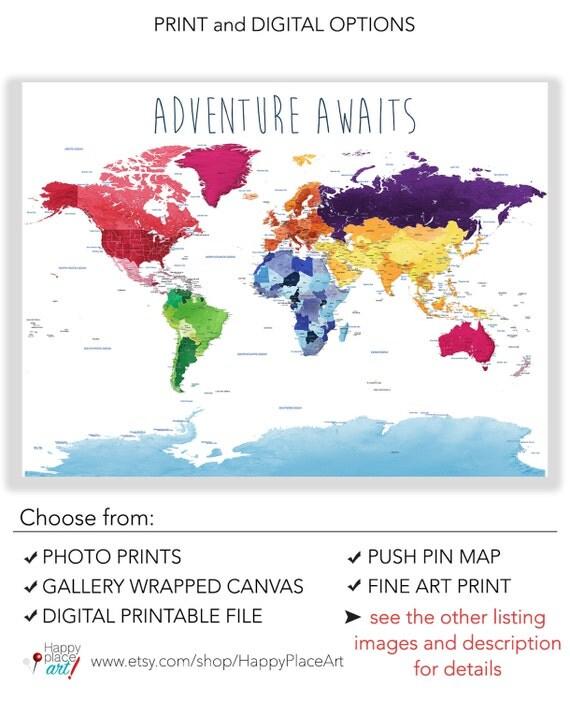 Educational World Map Print Detailed World Map Push Pin Foam - Detailed world maps