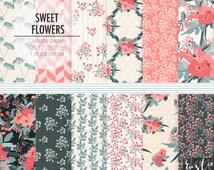 Floral digital paper. Scrapbooking digital paper in coral, slate gray and beige. Flowers clipart, digital paper.
