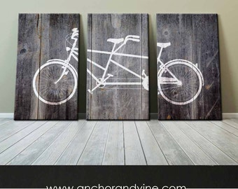 CANVAS // Tandem Bike Grey Wood Background //  Wall Decor, Home Decor, Bike Art, Marriage, Wedding, Gift, Large Canvas Art, Oversized Canvas