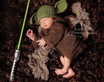 Star Wars Inspired Baby Infant Newborn Yoda Hat Cap Beanie Robe Sweater Cardigan Set