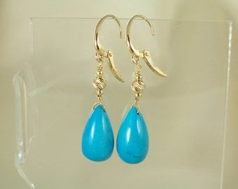 Turquoise 16mm briolette 14k Solid gold leverback earrings handmade gemstone item 855