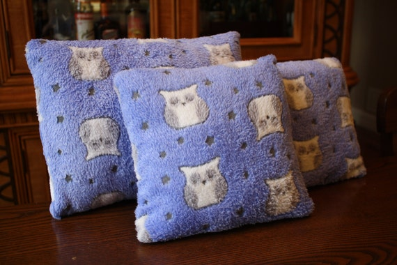 Items similar to Soft Fuzzy Light Blue Owl Pillow Rustic Material with Grey and White Owls ...