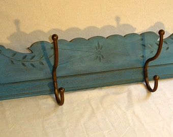 Coat Rack from reclaimed wood, old blue paint. matching table available.