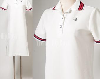 Vintage 60s Dress, Vintage White Dress, Vintage shirt Dress, Knit Dress, Nautical Sports Dress - M/L