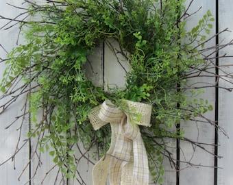 Boxwood  Wreath - Greenery Wreath - Twig Wreath - Year Round Wreath - Summer wreath - Twig Greenery Wreath - Country Wreath - Rustic Wreath