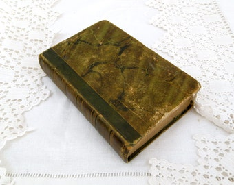 "Small Antique French 2 Volumes of ""Romans"" Stories by Voltaire Printed in 1831 Marbled Paper, Leather Bounded Book, Literature, Writer,"