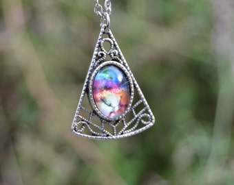 Nebula necklace, colorful galaxy necklace boho necklace cosmos necklace, boho jewelry, cosmic necklace, triangle pendant silver filigree
