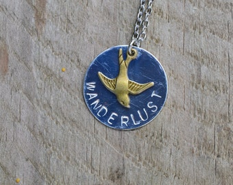 Wanderlust bird necklace, Born to fly high necklace, flying bird necklace, custom stamped necklace, gift for traveler