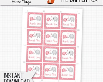 Favor Tag Pink Elephant Baby Shower Thank You card - printable digital - Polka Dot Baby Girl Pink and Grey Cute thankyou note