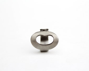 One-of-a-kind Ring made from an Antique KEY - Size 7 - Steel Beans - Handcrafted - Powder Coated - Repurposed - Upcycled