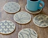 """Wooden coasters """"Patterns"""" - set of 6"""