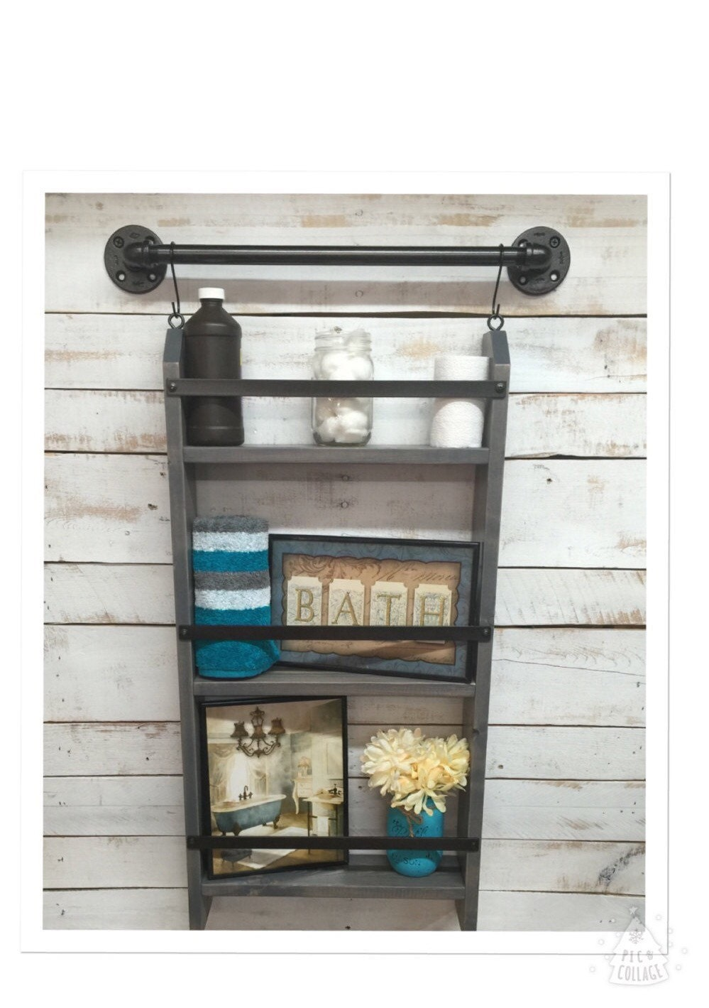Small Bathroom Ladder Shelf: Bathroom Ladder Shelf Rustic Bathroom Shelf Industrial