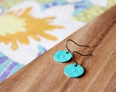 minimal tiny circle earrings - turquoise painted antiqued bronze