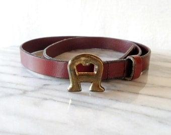 Vintage Etienne Aigner Maroon Leather 70s Skinny Belt